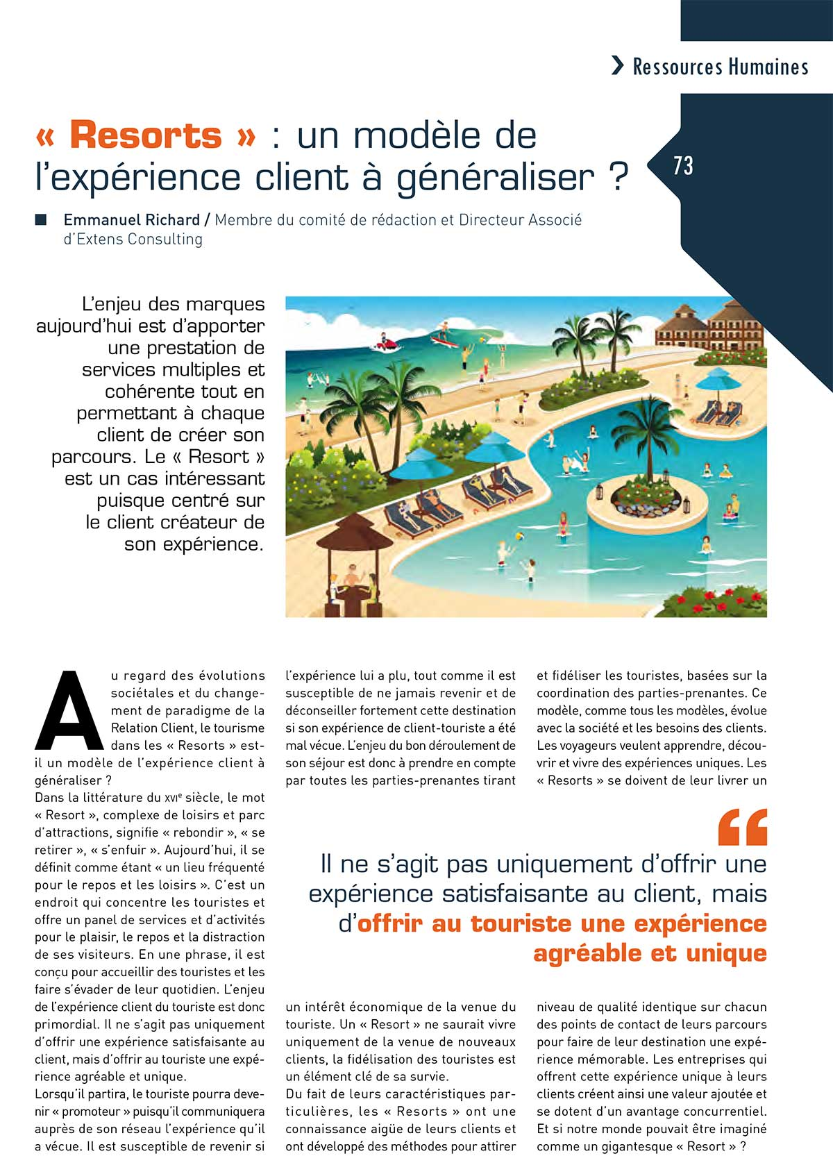 Article-AFRC-Resorts experience client a generaliser